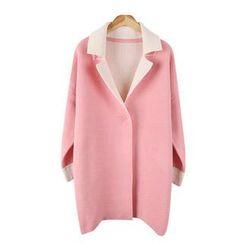 Envy Look - Contrast-Trim Knit Coat