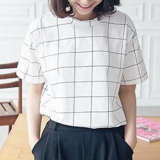 BAIMOMO - Short-Sleeve Windowpane T-Shirt