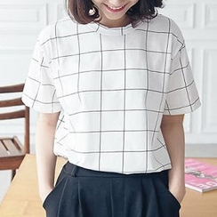 BAIMOMO - Short-Sleeve Check T-Shirt
