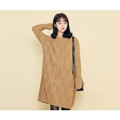HOTPING - Round-Neck Cable-Knit Dress