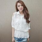 PUFII - Off-Shoulder Lace Chiffon Top