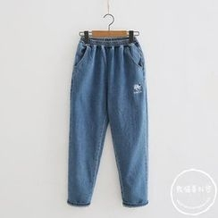PANDAGO - Elastic Waist Washed Jeans