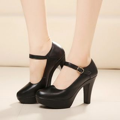Hannah - Genuine Leather Buckled Platform Heels