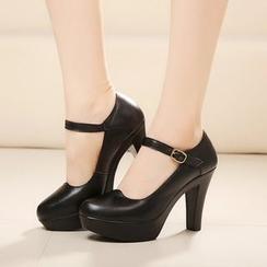 Hannah - 真皮飾扣厚底高跟鞋