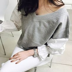 MARSHMALLOW - Maternity V-Neck Contrast-Sleeve Top