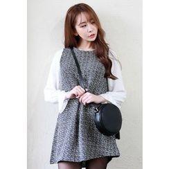 Dalkong - Mock Two-Piece Tweed Mini Dress