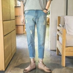 JUN.LEE - Ripped Cropped Jeans