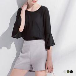 OrangeBear - 素色質感壓線造型腰鬆緊短褲