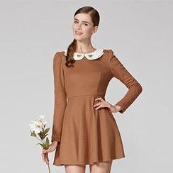O.SA - Wool-Blend Contrast-Collar Jeweled Dress