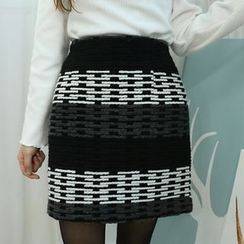 Dodostyle - Wool Blend Patterned Pencil Skirt