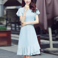 GETU - Flutter-Sleeve Chiffon Dress