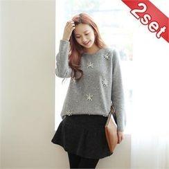 Styleberry - Set: Beaded Sweater + Inset Skirt Leggings
