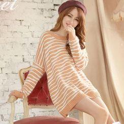 Tokyo Fashion - Drop-Shoulder Striped Loose-Fit Sweater