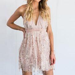 Obel - Sequined Halter A-Line Dress