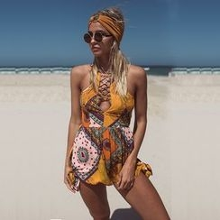 Hotprint - Printed Lace Up Sleeveless Playsuit