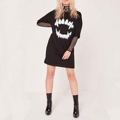 Obel - Printed Elbow Sleeve Sweater Dress