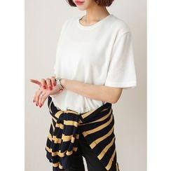 J-ANN - Short-Sleeve Brushed-Fleece T-Shirt