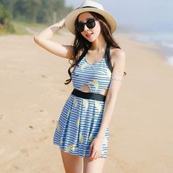 Beach Date - Striped Print Swimsuit