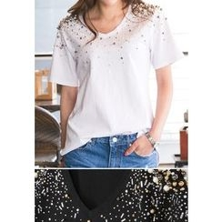 REDOPIN - V-Neck Beaded-Detail Top