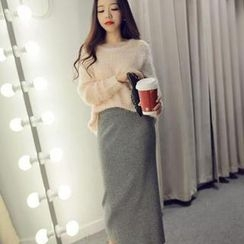 Ringnor - Set: Cross-Back Sequined Sweater + Pencil Skirt