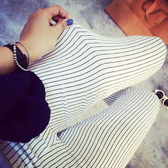 Fashion Street - 孕婦條紋內搭褲