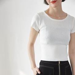 HORG - 純色短袖針織上衣