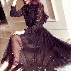 伊之戀 - 長袖珠飾網紗連衣裙