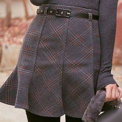chuu - Plaid Paneled Mini Flare Skirt with Belt