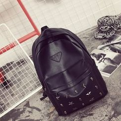 SUNMAN - Studded Faux Leather Backpack