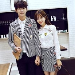Azure - Couple Matching Pinstripe Blazer / Skirt
