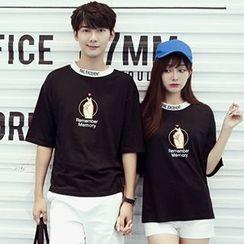 Azure - Couple Matching Finger Print Elbow Sleeve T-Shirt