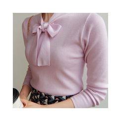 LEELIN - Tie-Neck Knit Top