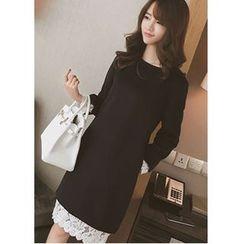 Oaksa - Long-Sleeve Lace Trim A-Line Dress