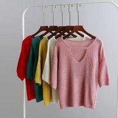 KANAMI - 七分袖镂空针织上衣