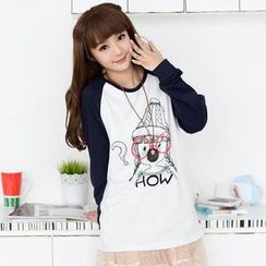 59 Seconds - Long-Sleeve Girl Print Raglan Top