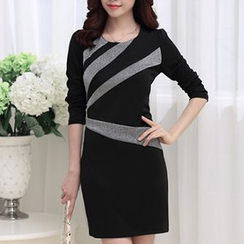 chome - Long-Sleeve Color Block Sheath Dress