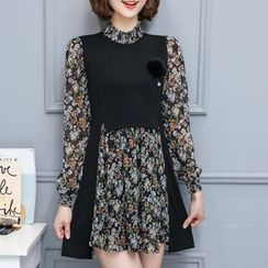 Cottony - Mock Two Piece Floral Print Long Sleeve Dress
