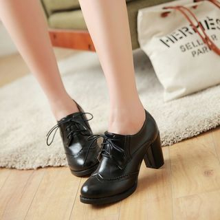 Megan - Lace-Up Perforated Oxford Pumps