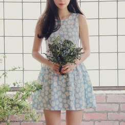 Dowisi - Sleeveless Floral Patterned A-Line Dress