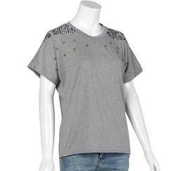 Jolly Club - Short-Sleeve Star-Stud Paneled T-Shirt