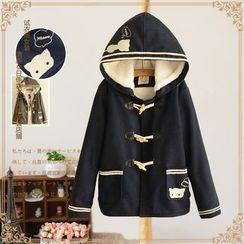 Vateddy - Cat Embroidered Hooded Toggle Jacket