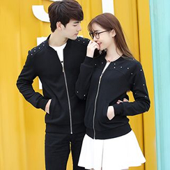 Igsoo - Couple Matching Embellished Baseball Jacket