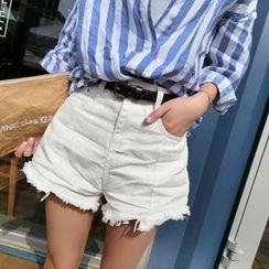 Octavia - Fray Hem High-Waist Denim Shorts