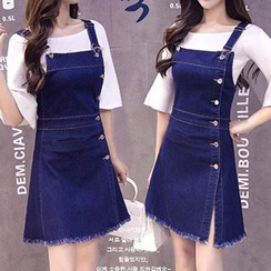 AGA - Frayed Hem A-Line Denim Pinafore Dress