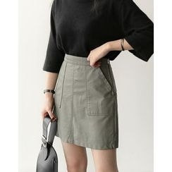 UPTOWNHOLIC - Pocket-Detail Faux-Leather Skirt