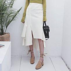 DABAGIRL - Asymmetric-Hem Midi Flare Skirt