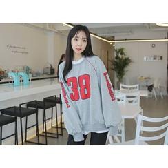 Envy Look - Raglan-Sleeve Lettering Sweatshirt