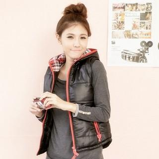 RingBear - Plaid-Lining Padded Hooded Vest