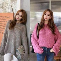 QNIGIRLS - Drop-Shoulder Wool Blend Sweater