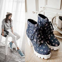 CITTA - Floral Print Block Heel Short Boots
